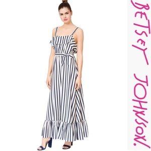 Betsey Johnson Striped Ruffled Maxi Dress